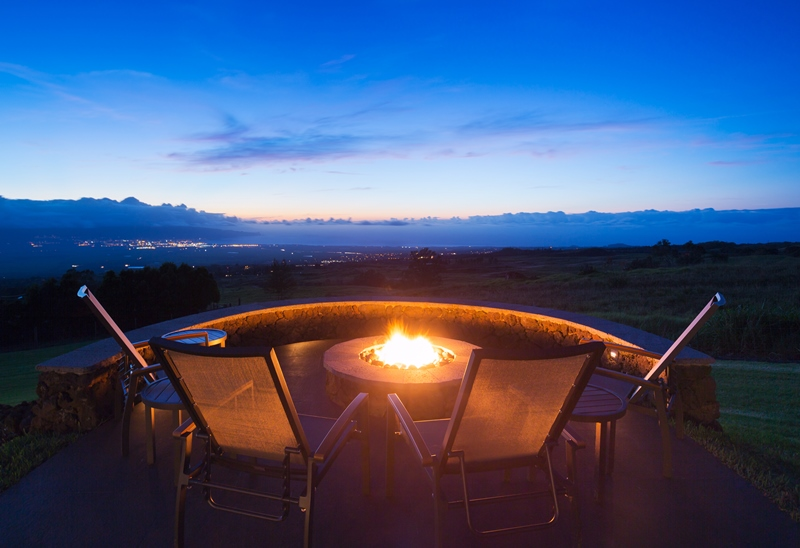 Romantic fire pit with a view