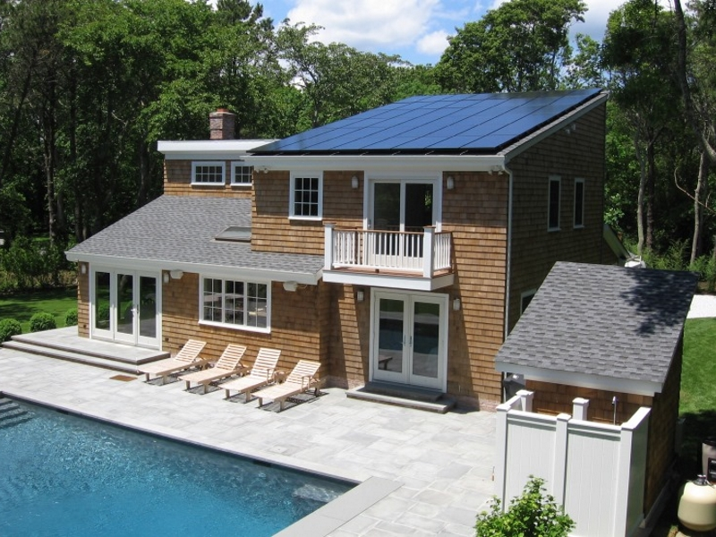 pool with solar panels