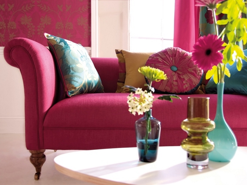 Pink couch flowers