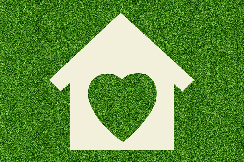 Green home with heart